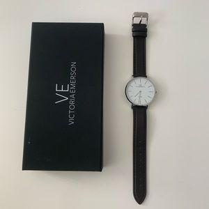New Victoria Emerson dark brown silver watch